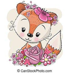 renard blanc, flowerson, fond, dessin animé
