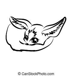 renard, caractère, fennec, dessin animé