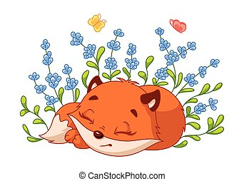 renard, vecteur, illustration, bushes., dessin animé, peu, lavande, dormir