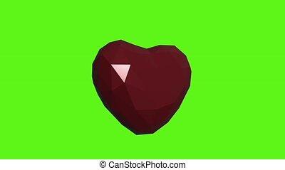 render, animation, arrière-plan., vert, 3d, coeur, rouges