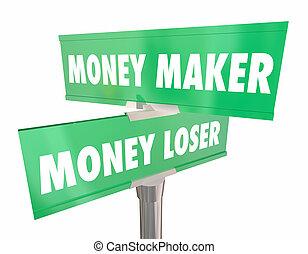 render, argent, conseil, perdant, fabricant, vs, illustration, signes, investissement, 3d