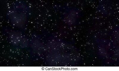 render., ciel, 3d, loop., stars., scintillement, seamless, étoilé, nuit
