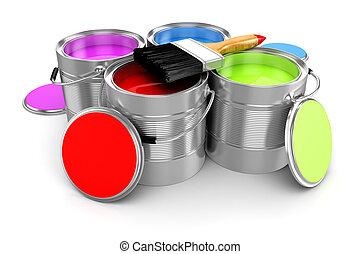 render, coloré, seau, peinture, fond, blanc, 3d