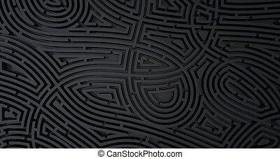 render, compliqué, résumé, arrière-plan noir, labyrinthe, blanc, 3d