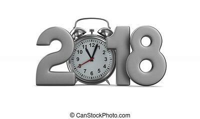 render, horloge, reveil, isolé, arrière-plan., 2018, année, blanc, 3d