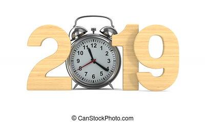 render, horloge, reveil, isolé, arrière-plan., 2019, année, blanc, 3d