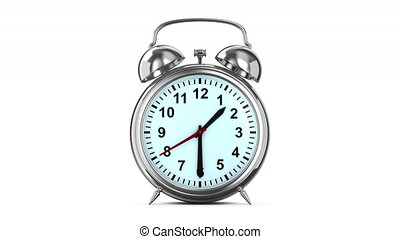 render, horloge, reveil, isolé, arrière-plan., blanc, 3d