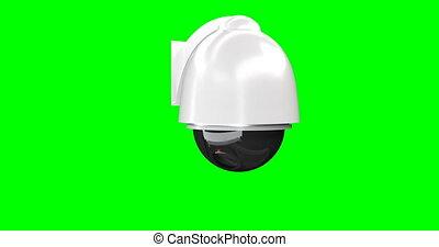 render, isolé, arrière-plan., appareil photo, vert, sécurité, 3d