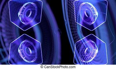 render, -, métrage, néon, musical, mouvement, speakers., vj, 3d