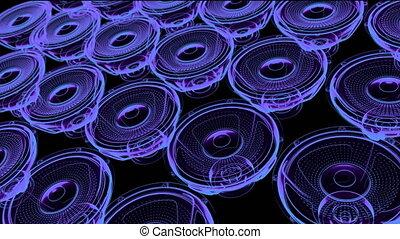 render, néon, vj, -, seamless, mouvement, speakers., musical, boucle, 3d
