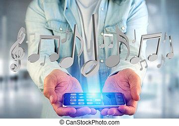 render, notes, musique, interface, futuriste, 3d