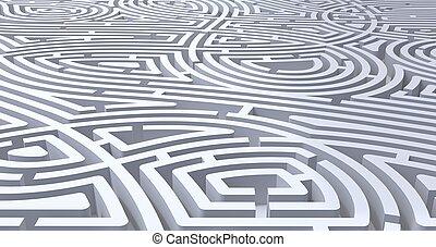 render, résumé, compliqué, fond, labyrinthe, blanc, 3d