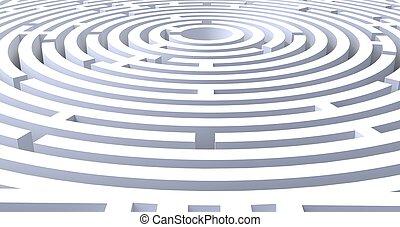 render, résumé, fond, labyrinthe, blanc, circulaire, 3d