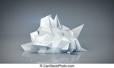 render, résumé, forme., polygonal, animation, blanc, boucle, 3d