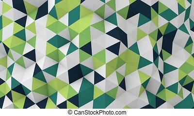 render, seamless, surface, polygonal, en mouvement, blanc vert, boucle, 3d