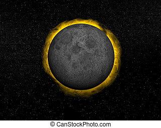render, soleil, -, éclipse, total, 3d