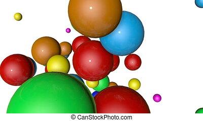 render, sphères, multicolore, arrière-plan., tomber, blanc, animated., 3d