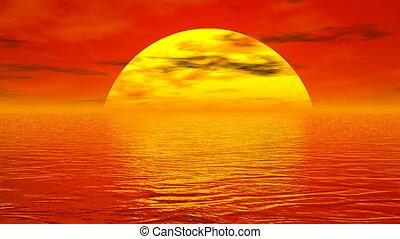 render, sur, -, océan, coucher soleil, 3d