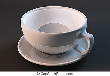 render, tasse, isolé, arrière-plan noir, blanc, 3d