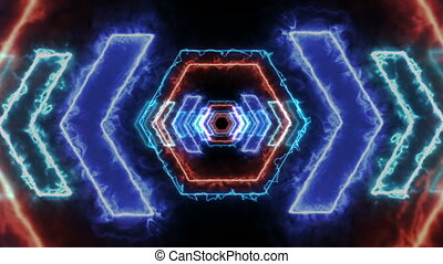 render, vj, lumière, tunnel., 3d, énergie