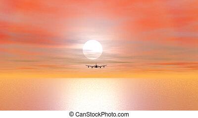 render, voler, -, avion, coucher soleil, 3d