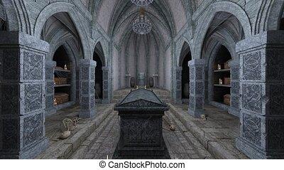 rendre, 3d, château, historique