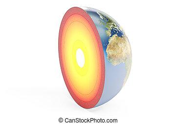 rendre, 3d, la terre, structure, planète