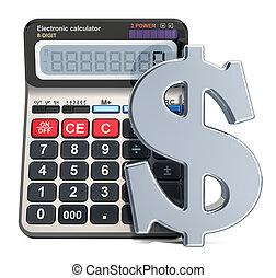 rendre, calculatrice, 3d, symbole dollar