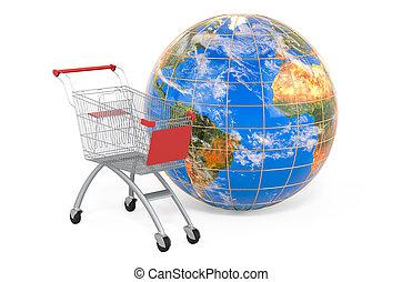 rendre, charrette, globe., la terre, global, 3d, achats, concept