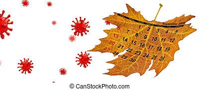 rendre, fond, 3d, covid-19, calendrier, feuille, septembre, 2020, sec, avion, isolé, coronavirus, -
