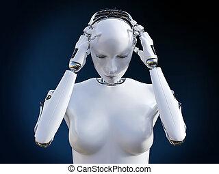 rendre, headache., robot, femme, 3d