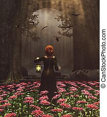 rendre, lanterne, jardin, moyen-âge, top secret, nuit, princesse
