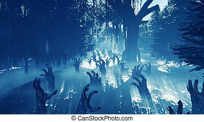 rendre, mystérieux, mains, brumeux, backgrounds., portée, marais, forêt, 3d, halloween, ascensions, sombre, mort, dehors, marais, paysage., vapeur, terrestre
