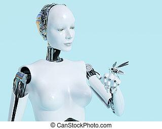 rendre, robot, robotique, femme, 3d, mosquito.