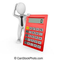 rendu, grand, calculatrice, homme affaires, blanc rouge, 3d