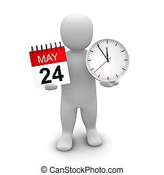 rendu, illustration., horloge, calendar., tenue, 3d, homme