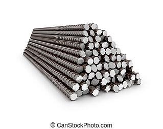 renforcé, barres, ensemble, steel., illustration, reinforcement., 3d