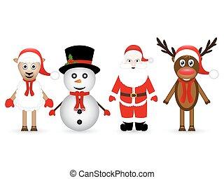 renne, bonhomme de neige, claus, santa