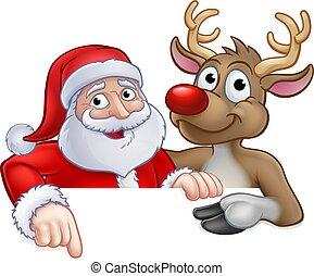renne, caractère, dessin animé, santa, noël