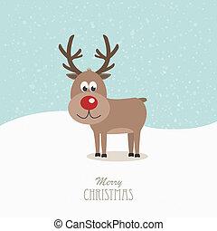 renne, neigeux, nez, fond, rouges