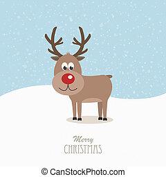 renne, nez, rouges, neigeux