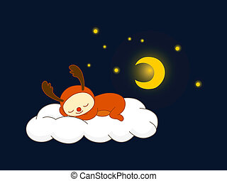 renne, nuage, dormir