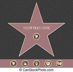 renommée, hollywood, promenade, étoile