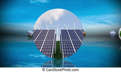 renouvelable, mont, recyclage, énergie
