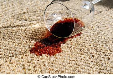 renversé, vin, moquette