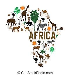 repère, carte, silhouette, afrique, icônes