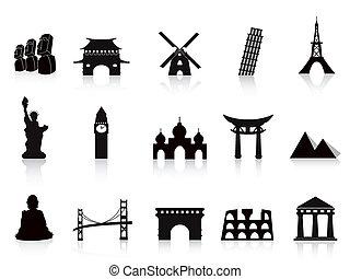repère, noir, icônes