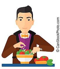 repas., cuisine, homme