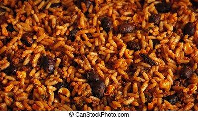 repas, haricots, riz, tourner