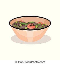 repas., plat, nouille, recette, bol, vecteur, traditionnel, livre, savoureux, asiatique, délicieux, menu, plat, cuisine., café, ou, shrimps.